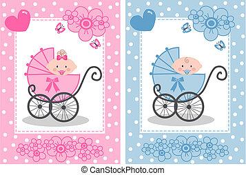 newborn baby girl and baby boy