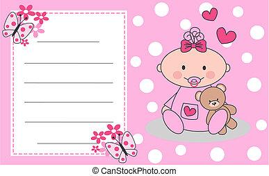 newborn baby girl - celebration or invitation card for...