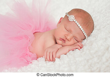 Newborn Baby Girl in Pink Tutu - Sleeping 8 day old newborn...