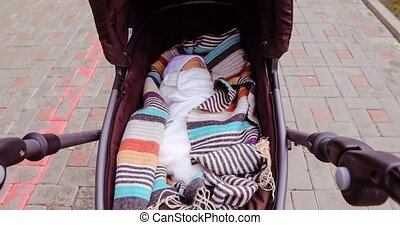 Newborn baby girl sleep in her pram - Newborn baby girl...