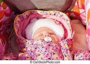 Newborn baby girl sleeping in a stroller