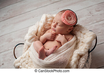 Newborn Baby Girl Wearing a Flower Headband - A portrait of...