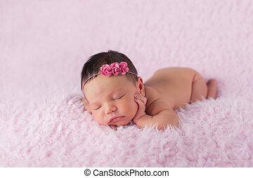 Newborn Baby Girl Wearing a Pink Rose Headband