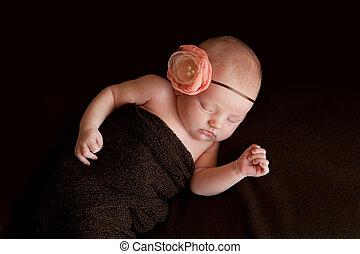 Newborn Baby Girl with Flower Headband
