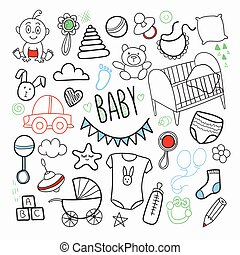 Newborn Baby Hand Drawn Doodle with Toys, Boy and Sketchy...