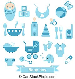 Newborn baby icons set