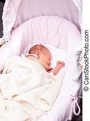 Newborn baby in a bassinet