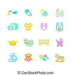 Newborn baby objects icons | MICRO series - Newborn and...