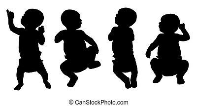 newborn baby silhouettes set 1