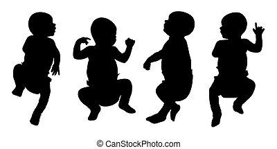 newborn baby silhouettes set 2