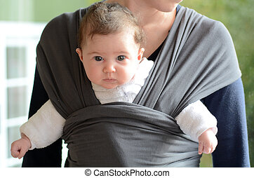 Newborn Baby Sling and Wrap - Newborn baby carried by his ...