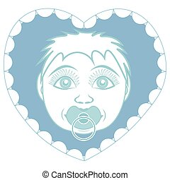 Newborn baby son with pacifier. Portrait in a frame in the form of a heart.