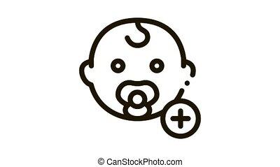 newborn baby toddler Icon Animation. black newborn baby toddler animated icon on white background
