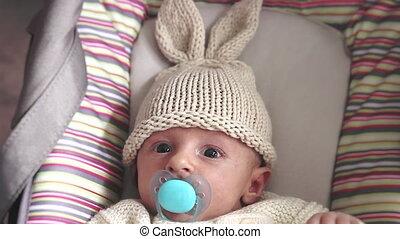 Newborn Baby With Bunny Hat