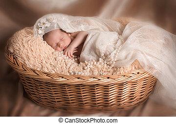 newborn baby wrapped in a blanket sleeping in a basket