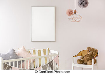 Newborn bedroom with white crib