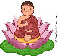 Newborn buddha boy sits in lotus flower