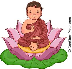 Newborn buddha boy sits in lotus flower