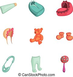 Newborn care icons set, cartoon style