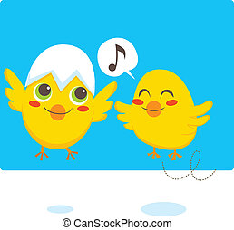 Newborn Chicks - Two newborn chicks learning to fly and sing