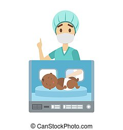 Newborn african american child in hospital incubator box. Nurse standing at the sleeping kid. Childcare in maternity clinic. Isolated flat vector illustration