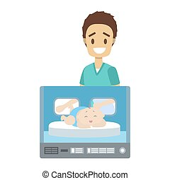 Newborn child in hospital incubator box. Male nurse standing at the smiling kid. Childcare in maternity clinic. Isolated flat vector illustration