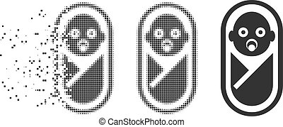 Newborn Dissipated Pixel Halftone Icon