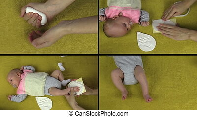 Mother hands making small newborn baby footprint footmark palm mark on special material. Montage of video clips collage. Split screen. Black angular frame. 4K UHDTV 2160p