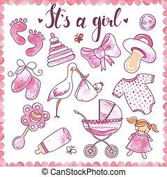 Newborn Girl Hand Drawn Elements Set
