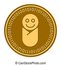 Newborn golden digital coin vector icon. gold yellow flat coin cryptocurrency symbol isolated on white. eps 10