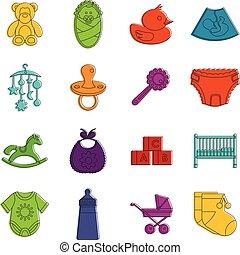 Newborn icons doodle set