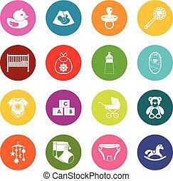 Newborn icons many colors set