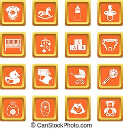 Newborn icons set orange