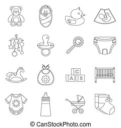 Newborn icons set, outline style