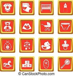 Newborn icons set red