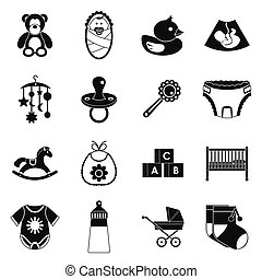 Newborn icons set, simple style - Newborn icons set in...