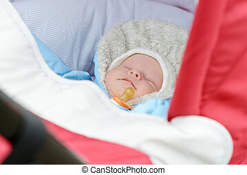 newborn in the pram