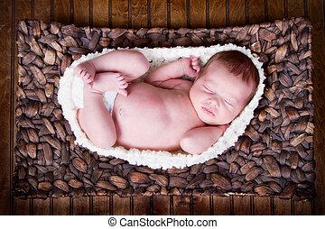newborn infant baby sleeping - Newborn infant baby laying in...