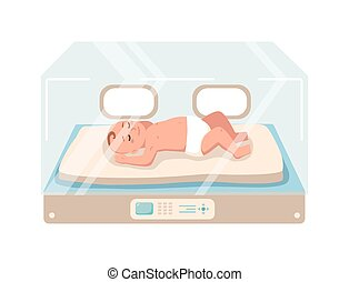 Newborn infant lies inside neonatal intensive care unit isolated on white background. Premature child sleeping in glass incubator box. Baby nursery. Colorful vector illustration in flat cartoon style