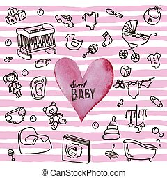 Newborn infant themed cute doodle set. Baby card