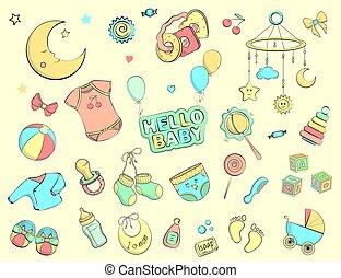 Newborn infant themed doodle set. Vector hand drawn Illustration