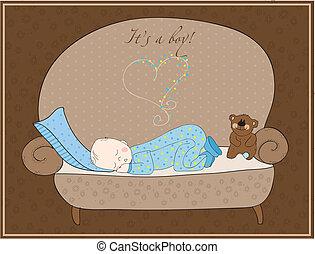 newborn niemowlę, chłopiec, karta, spanie