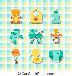 newborn niemowlę, materiał, stickers., ikony
