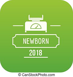 Newborn scales icon green vector