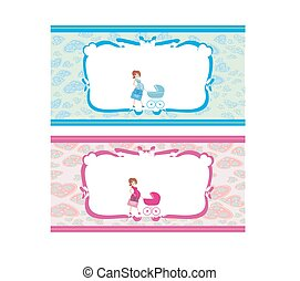 Newborn set banners. Two colors for boys and girls.