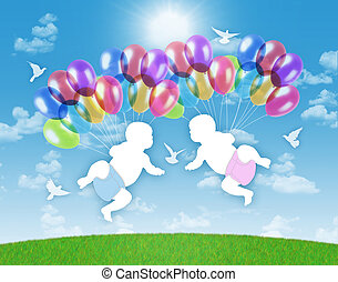white silhouettes of newborn twins flying on colorful balloons on a blue sky background