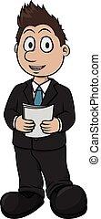 Newcaster boy cartoon illustration