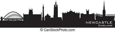 newcastle, anglia, skyline., szczegółowy, wektor, sylwetka