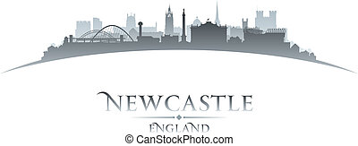 Newcastle England city skyline silhouette white background...