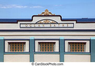 Newcastle Ocean Baths main facade - The main facade of the...